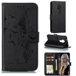 Intricate Embossing Lychee Feather Bird Leather Wallet Case for Nokia 7.2 - Black