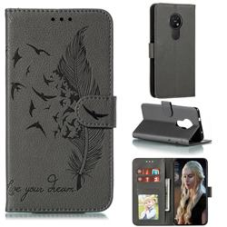Intricate Embossing Lychee Feather Bird Leather Wallet Case for Nokia 7.2 - Gray