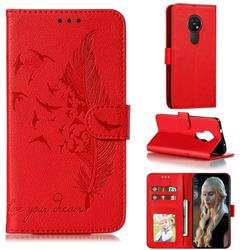 Intricate Embossing Lychee Feather Bird Leather Wallet Case for Nokia 7.2 - Red