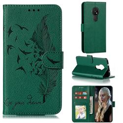 Intricate Embossing Lychee Feather Bird Leather Wallet Case for Nokia 7.2 - Green