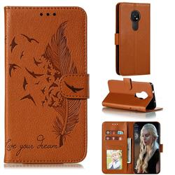 Intricate Embossing Lychee Feather Bird Leather Wallet Case for Nokia 7.2 - Brown