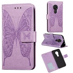 Intricate Embossing Vivid Butterfly Leather Wallet Case for Nokia 7.2 - Purple