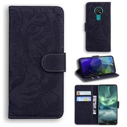Intricate Embossing Tiger Face Leather Wallet Case for Nokia 7.2 - Black
