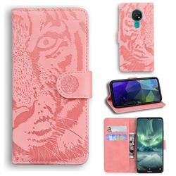 Intricate Embossing Tiger Face Leather Wallet Case for Nokia 7.2 - Pink