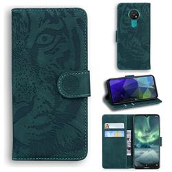 Intricate Embossing Tiger Face Leather Wallet Case for Nokia 7.2 - Green