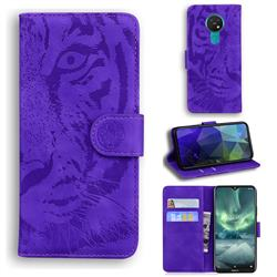 Intricate Embossing Tiger Face Leather Wallet Case for Nokia 7.2 - Purple