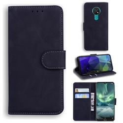 Retro Classic Skin Feel Leather Wallet Phone Case for Nokia 7.2 - Black