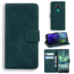 Retro Classic Skin Feel Leather Wallet Phone Case for Nokia 7.2 - Green