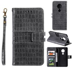 Luxury Crocodile Magnetic Leather Wallet Phone Case for Nokia 7.2 - Gray