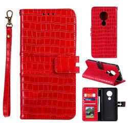 Luxury Crocodile Magnetic Leather Wallet Phone Case for Nokia 7.2 - Red