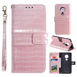 Luxury Crocodile Magnetic Leather Wallet Phone Case for Nokia 7.2 - Rose Gold