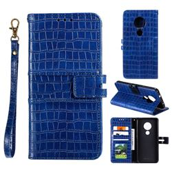 Luxury Crocodile Magnetic Leather Wallet Phone Case for Nokia 7.2 - Blue
