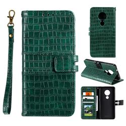 Luxury Crocodile Magnetic Leather Wallet Phone Case for Nokia 7.2 - Green