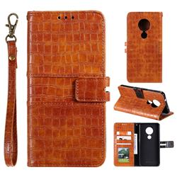 Luxury Crocodile Magnetic Leather Wallet Phone Case for Nokia 7.2 - Brown