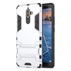 Armor Premium Tactical Grip Kickstand Shockproof Dual Layer Rugged Hard Cover for Nokia 7 Plus - Silver