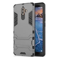 Armor Premium Tactical Grip Kickstand Shockproof Dual Layer Rugged Hard Cover for Nokia 7 Plus - Gray