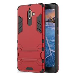 Armor Premium Tactical Grip Kickstand Shockproof Dual Layer Rugged Hard Cover for Nokia 7 Plus - Wine Red