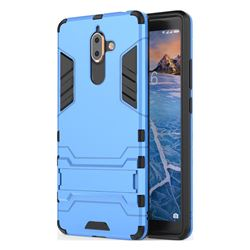 Armor Premium Tactical Grip Kickstand Shockproof Dual Layer Rugged Hard Cover for Nokia 7 Plus - Light Blue