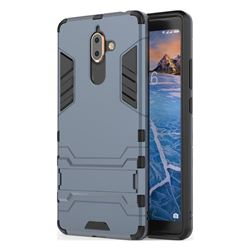 Armor Premium Tactical Grip Kickstand Shockproof Dual Layer Rugged Hard Cover for Nokia 7 Plus - Navy