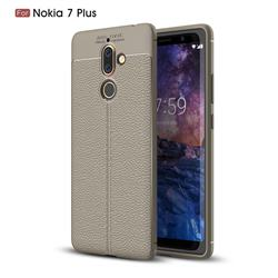 Luxury Auto Focus Litchi Texture Silicone TPU Back Cover for Nokia 7 Plus - Gray