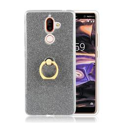 Luxury Soft TPU Glitter Back Ring Cover with 360 Rotate Finger Holder Buckle for Nokia 7 Plus - Black