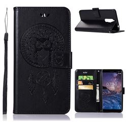 Intricate Embossing Owl Campanula Leather Wallet Case for Nokia 7 Plus - Black