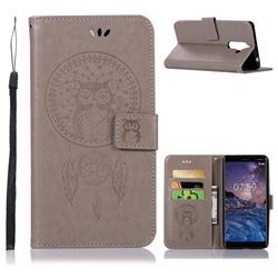 Intricate Embossing Owl Campanula Leather Wallet Case for Nokia 7 Plus - Grey