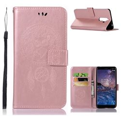 Intricate Embossing Owl Campanula Leather Wallet Case for Nokia 7 Plus - Rose Gold
