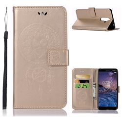 Intricate Embossing Owl Campanula Leather Wallet Case for Nokia 7 Plus - Champagne