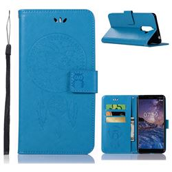 Intricate Embossing Owl Campanula Leather Wallet Case for Nokia 7 Plus - Blue