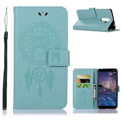 Intricate Embossing Owl Campanula Leather Wallet Case for Nokia 7 Plus - Green