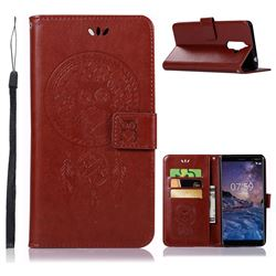 Intricate Embossing Owl Campanula Leather Wallet Case for Nokia 7 Plus - Brown