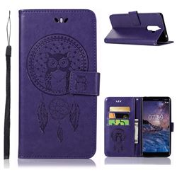 Intricate Embossing Owl Campanula Leather Wallet Case for Nokia 7 Plus - Purple