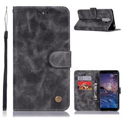 Luxury Retro Leather Wallet Case for Nokia 7 Plus - Gray