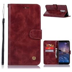 Luxury Retro Leather Wallet Case for Nokia 7 Plus - Wine Red