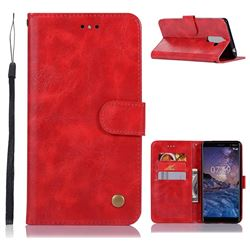 Luxury Retro Leather Wallet Case for Nokia 7 Plus - Red