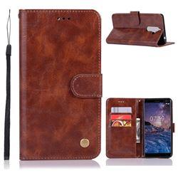 Luxury Retro Leather Wallet Case for Nokia 7 Plus - Brown