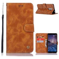 Luxury Retro Leather Wallet Case for Nokia 7 Plus - Golden