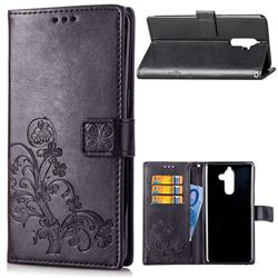 Embossing Imprint Four-Leaf Clover Leather Wallet Case for Nokia 7 Plus - Black