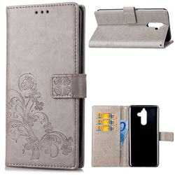 Embossing Imprint Four-Leaf Clover Leather Wallet Case for Nokia 7 Plus - Grey