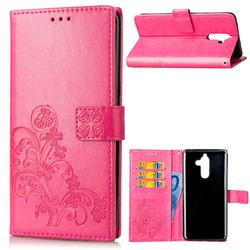 Embossing Imprint Four-Leaf Clover Leather Wallet Case for Nokia 7 Plus - Rose