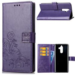 Embossing Imprint Four-Leaf Clover Leather Wallet Case for Nokia 7 Plus - Purple