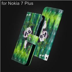Climbing Bamboo Panda 3D Painted Leather Wallet Case for Nokia 7 Plus