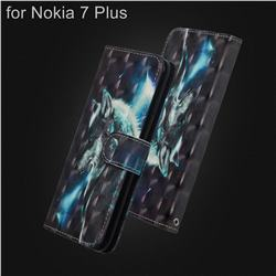 Snow Wolf 3D Painted Leather Wallet Case for Nokia 7 Plus