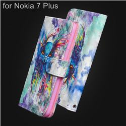 Watercolor Owl 3D Painted Leather Wallet Case for Nokia 7 Plus