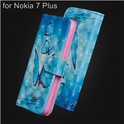 Blue Sea Butterflies 3D Painted Leather Wallet Case for Nokia 7 Plus