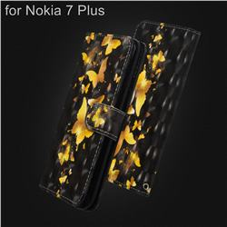 Golden Butterfly 3D Painted Leather Wallet Case for Nokia 7 Plus