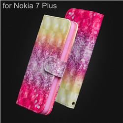Gradient Rainbow 3D Painted Leather Wallet Case for Nokia 7 Plus