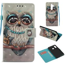 Sweet Gray Owl 3D Painted Leather Wallet Case for Nokia 7 Plus