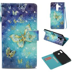Gold Butterfly 3D Painted Leather Wallet Case for Nokia 7 Plus